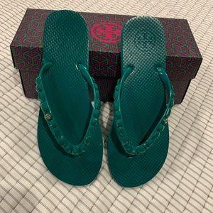 Tory Burch Emerald Flip Flops
